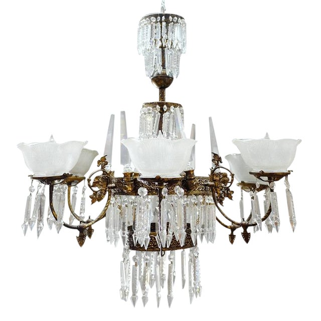 Renaissance Style Brass and Crystal Gas Style Chandelier For Sale