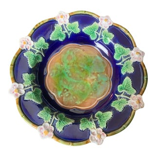 George Jones Majolica Strawberry Dish in Cobalt Blue, English, Ca. 1875 For Sale