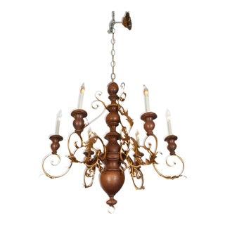 Mid-Century Six-Light Florentine Wood and Gilt Metal Chandelier