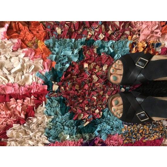 "Cotton Vintage ""Pembe"" Moroccan Boucherouite Rug - 5′ × 6'4"" For Sale - Image 7 of 8"