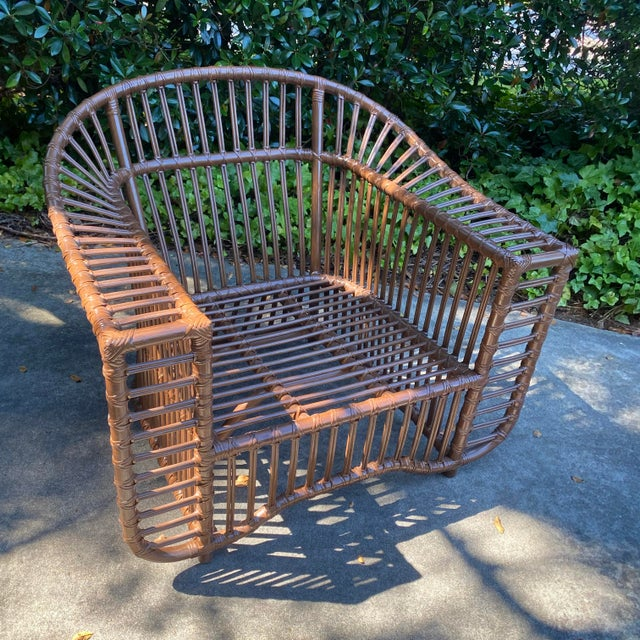 2020s Henry Olko Style Rattan Club Chair For Sale - Image 5 of 10
