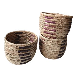 1990s Boho Chic Tribal Grass Baskets - Set of 3 For Sale