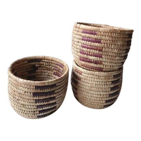 Vintage Tribal Grass Baskets - Set of 3 For Sale