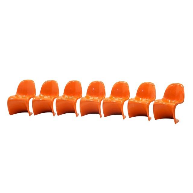 Vintage Orange Verner Panton S Chairs- Set of 7 For Sale