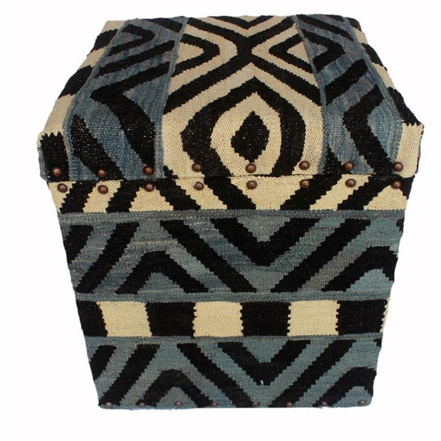 2010s Delois Blue/Ivory Kilim Upholstered Handmade Storage Ottoman For Sale - Image 5 of 8