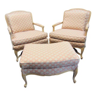 Louis XV Style White Maple Chairs & Ottoman / 3 Piece Set For Sale