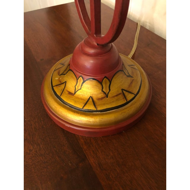 Vintage Deep Red and Gold Tole Table Lamps With Lyre Decoration and Shades - a Pair For Sale In Philadelphia - Image 6 of 11