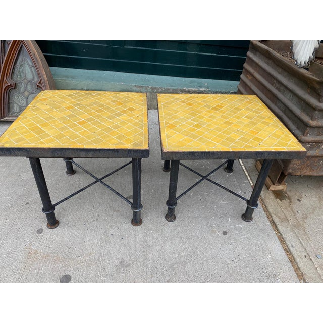 Mid 20th Century Vintage Side-Tables With Tile Top - a Pair For Sale - Image 5 of 5