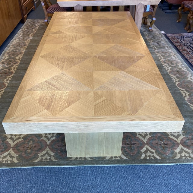 Custom Modern Oak Inlay Dining Table For Sale - Image 4 of 13