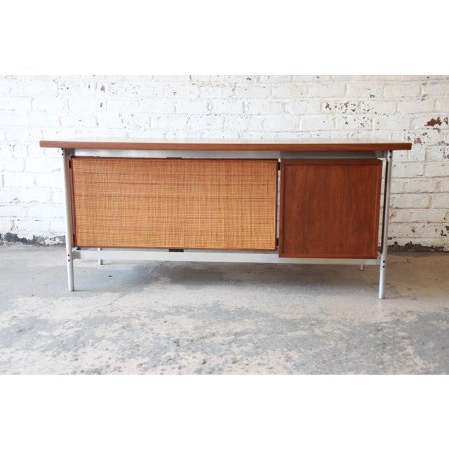 Jens Risom Mid-Century Modern Executive Desk in Walnut, Cane, and Steel For Sale In South Bend - Image 6 of 13