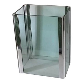 Pace Collection Chrome and Glass Rectangular Table Base For Sale