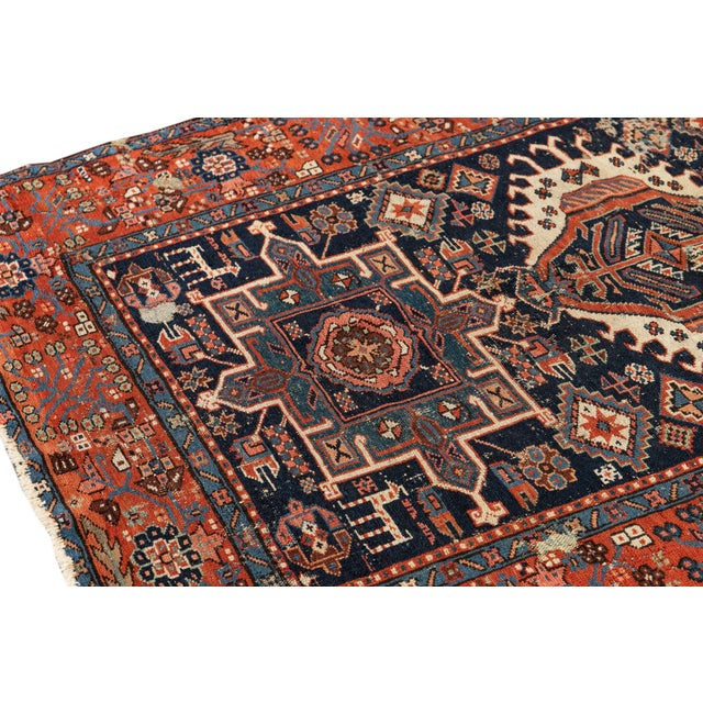 """Textile Antique Persian Heriz Rug, 4'6"""" X 6'2"""" For Sale - Image 7 of 9"""