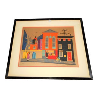 Virginia Paccassi - Woodblock Print - Well Listed - 1940's - Mid-Century Life For Sale