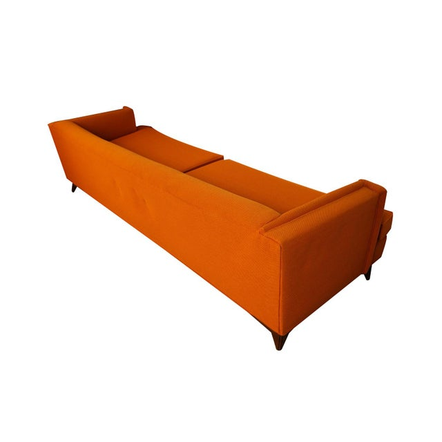 Fabric Mid Century Modern Orange Upholstered Curved Sofa For Sale - Image 7 of 12