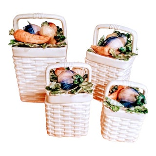 Fitz and Floyd 4 Piece Ceramic Weave Basket Vegetable Canister Set For Sale