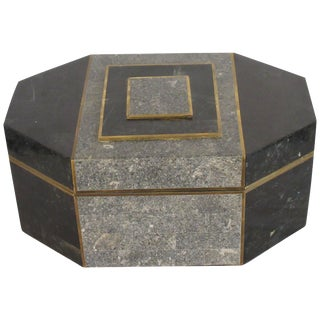 1970s Casa Bique Tessellated Stone and Brass Box by Robert Marcius For Sale