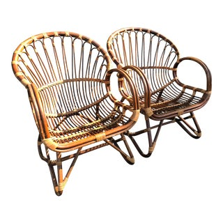 Franco Albini Style Scoop Vintage Rattan Chairs-Pair For Sale