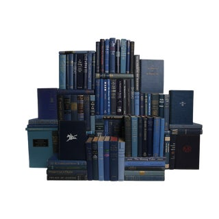 Midcentury Denim Book Wall : Set of One Hundred Decorative Books