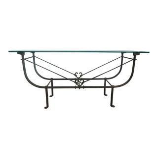 1980s Homage to Giacometti Wrought Iron Etruscan Console Table For Sale