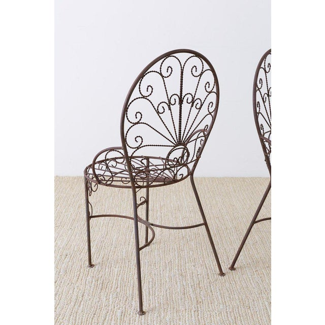 Salterini Style Iron Fan Back Garden Patio Chairs For Sale - Image 10 of 13