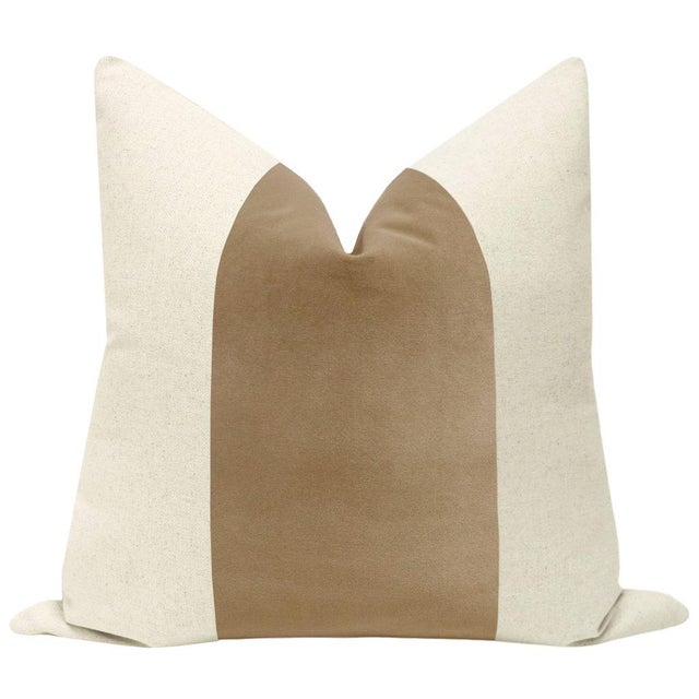 """Pair of beautiful 22"""" natural linen pillows with a nutmeg brown velvet center and solid natural linen reverse...."""