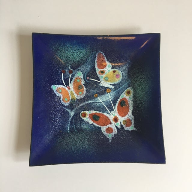 Mid Century Enamel on Copper Dish Butterflies.Small chips on back. but you dont see them when displayed.