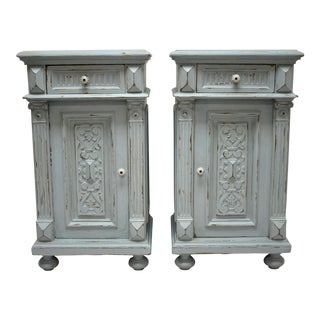Pair of Painted Oak and Pine Nightstands