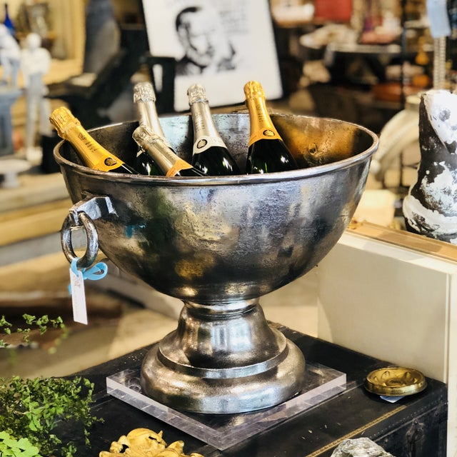 """2010s Belgian Nickel Plated Oversized Belgian """"Andica"""" Footed Wine Cooler For Sale - Image 5 of 7"""