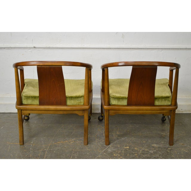 Edward Wormley Dunbar Style Mid-Century Barrel Back Chairs - A Pair - Image 4 of 11
