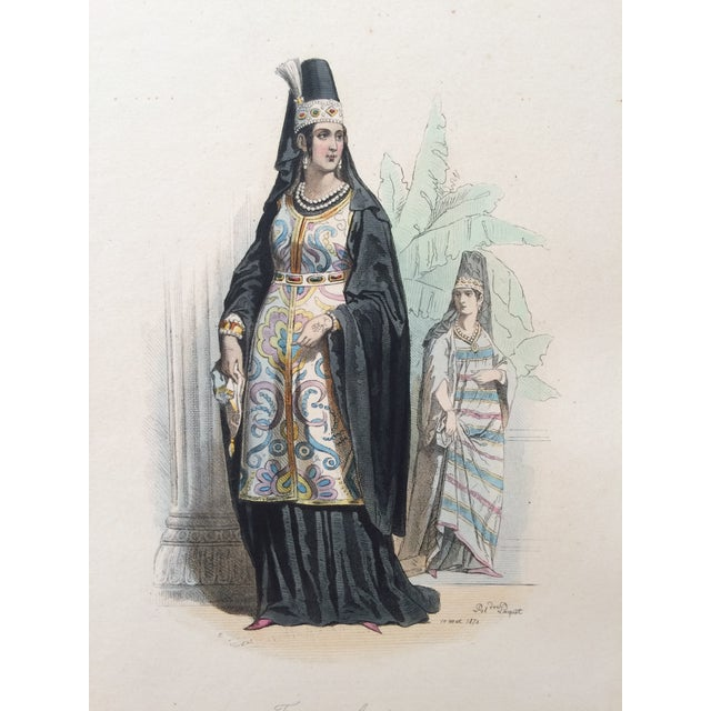 """Late 19th Century 19th Century Century Antique French Original Engraving Historic Fashion Plate, Hand-Tinted - """"Femmes Arabes."""" For Sale - Image 5 of 11"""