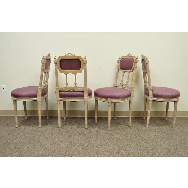 Vintage French Louis XVI Style Drape & Bow Carved Painted Dining Chairs - Set of 4 - Image 10 of 11
