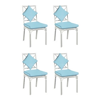 Haven Outdoor Dining Chair, Canvas Mineral Blue with Canvas Sapphire Welt, Set of Four For Sale