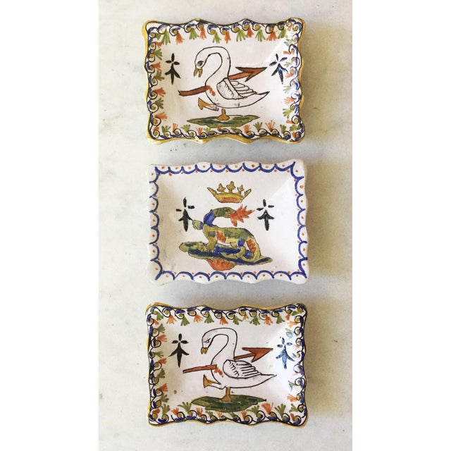 Folk Art 1910 Antique French Faience Swan Dishes - a Pair For Sale - Image 3 of 5