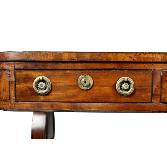 Early 19th Century Fine Regency Mahogany and Ebony Inlaid Writing Table For Sale - Image 5 of 13