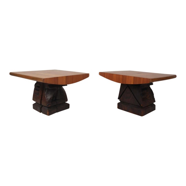 Pair of Midcentury Totem End Tables by Witco For Sale