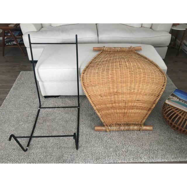 Tan Vintage Mid Century John Risley Rattan & Iron Lounge Chair For Sale - Image 8 of 12