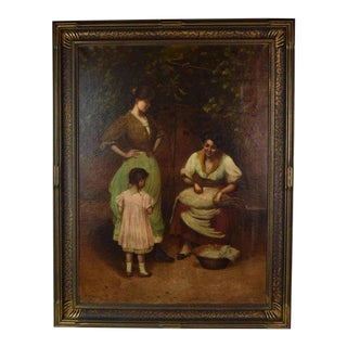 "Italian Genre ""Preparations for the Holiday"" 3 Generations of Women Signed Painting For Sale"