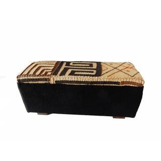 "Custom Made Kuba & Mud Cloth Ottoman 16"" H by 36"" W For Sale"