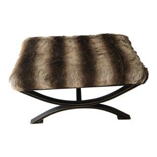 1990s Vintage Iron & Faux Fur Bench For Sale