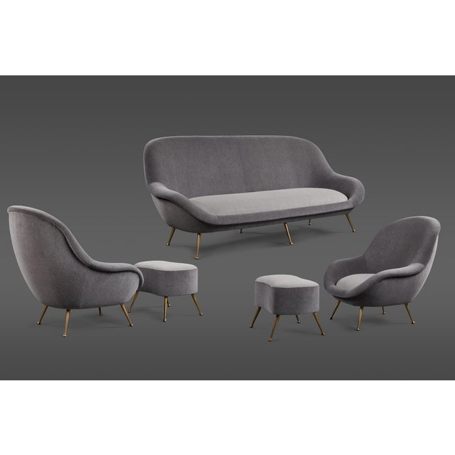 An Elegant Italian Suite of a Petite Sofa and Two Armchairs With Matching Ottomans For Sale - Image 13 of 13