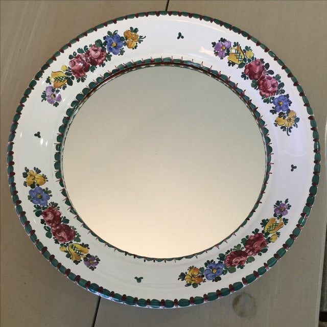 Hand-Painted Ceramic Floral Mirror - Image 2 of 5