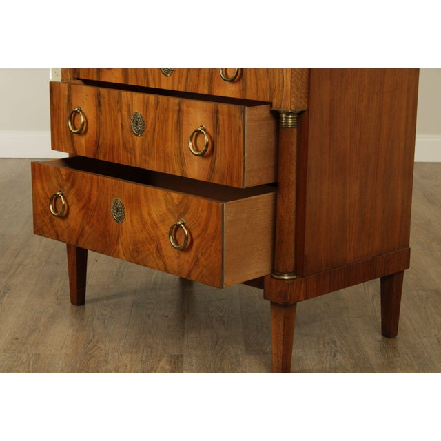 Metal Baker French Empire Style Vintage Walnut Commode Chest of Drawers For Sale - Image 7 of 13