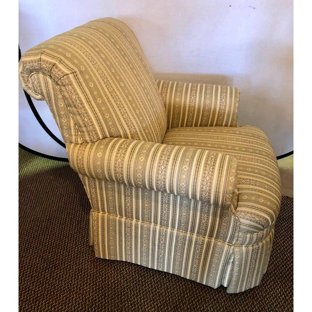 Pair of Hollywood Regency style custom overstuffed arm / lounge chairs in fine fabric. Direct from a Long Island Gold...
