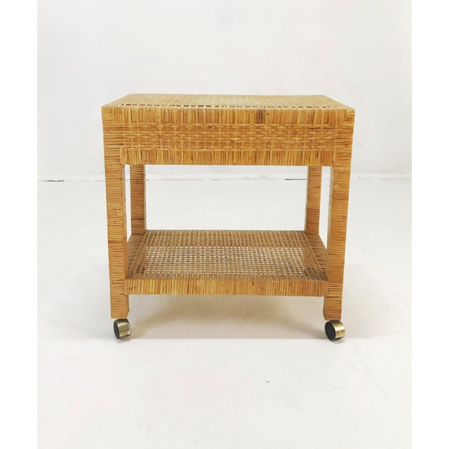 Wrapped Rattan Bar Cart For Sale In Tampa - Image 6 of 6
