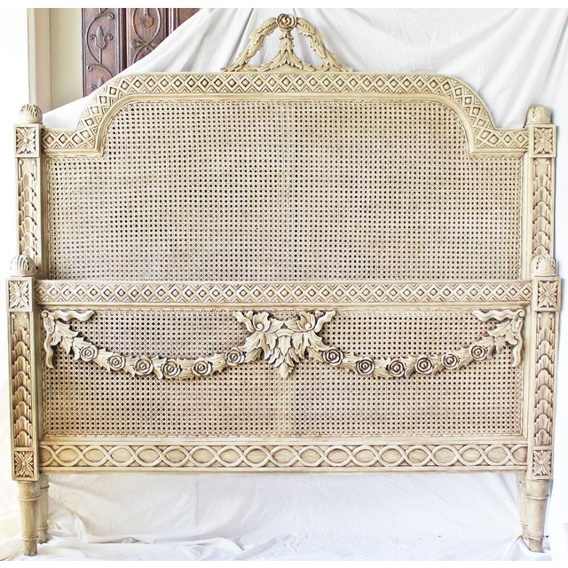 Light Green Vintage Louis XVI Style Caned Bed, Queen For Sale - Image 8 of 10