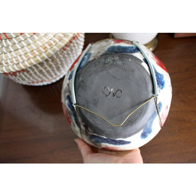 Metal Vintage Handmade Hand Glazed Studio Art Black Clay Pottery Bowl For Sale - Image 7 of 8
