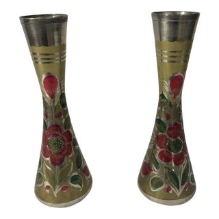 Floral Hand Painted Brass Etched Vases - a Pair For Sale