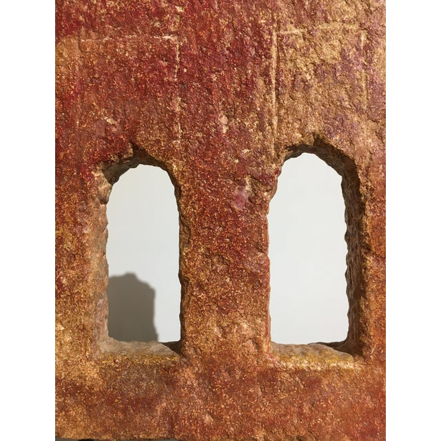 Stone Indian Carved Stone Architectural Window Element For Sale - Image 7 of 8