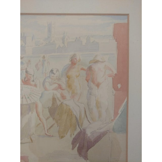 1920 French Nude Beach by Thérèse Lessore Paintings - a Pair For Sale - Image 11 of 13