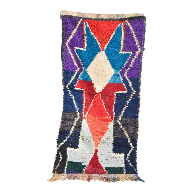 1970s Vintage Boucherouite Moroccan Wool Rug - 3′1″ × 6′6″ For Sale